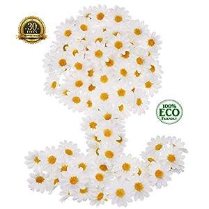 100pcs Artificial Flower Small Silk Sunflower Handmade Head Wedding Decoration DIY Wreath Gift Box Scrapbooking Craft Fake Flowe (White) 1