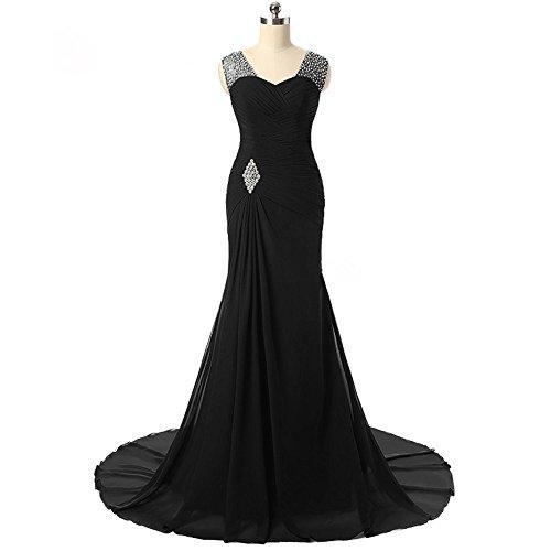 Women's Stunning Rhinestones Banquet Court Beach Wedding Dress Bridal Gown Black,US12