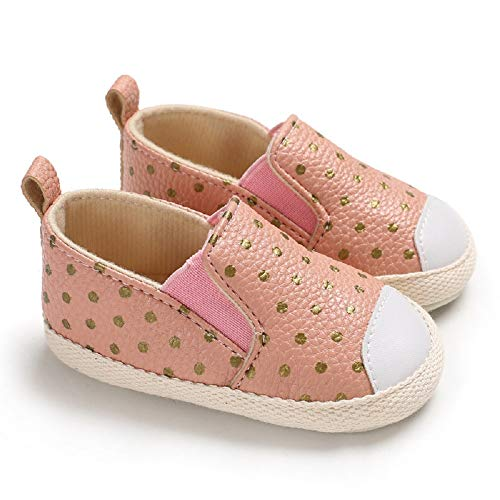 Save Beautiful Toddler Baby Girls Polka Dots Shoes Infant First Walkers (6-12months, Pink) ()