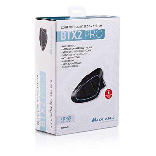 Midland C1231.01 - Intercomunicadores moto (radio FM, RDS, USB, alcance hasta 1 km), color negro