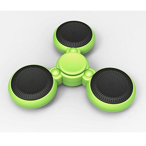 YJY Fidget Spinner Bluetooth Speaker with Hands-Free Calls Microphone, Plastic Hand Toy Better Loudspeaker Colorful LED Light Pattern for Office Stress Relieve ADHD Focus(Green)