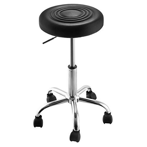 Super Buy Black Adjustable Rolling Bar Stools Swivel