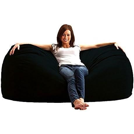 Bean Bag Chair 6 Foot Large Love Seat Sofa Comfort Suede Black Dorm Sac Beanbag Sack