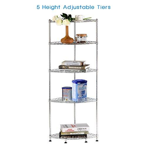Lifewit Corner Shelf 5 Tiers Adjustable Metal Storage Wire Shelving Unit, 13.8