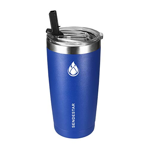 (SENDESTAR 20 oz Tumbler Double Wall Insulated Stainless Steel Coffee Travel Mug with Spill Proof Straw Lid - Sweat Free,BPA free (Cobalt))