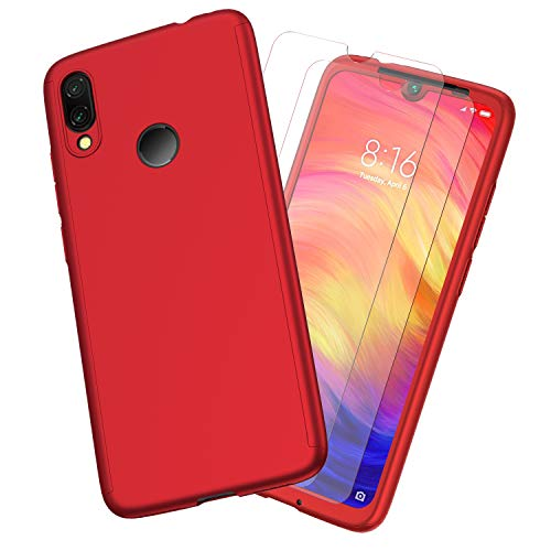 Funda Xiaomi Redmi Note 7,ORETECH Carcasa Redmi Note 7//Note 7 Pro Case 360 Grados con Ultra-Delgado Caso para Xiaomi Redmi Note 7-Rojo Ligera 2 x Cristal Protector de Pantalla de Vidrio Templado