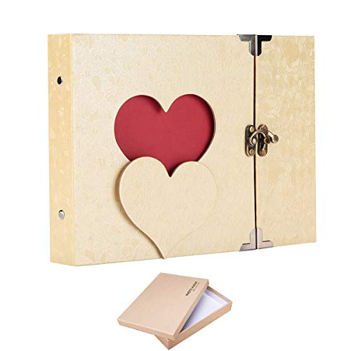 ARHSSZY 10inch Hollowed Heart Photo Album Memory Pictures Storage Holder Case Scrapbook Cover DIY Craft Wedding Graduation Birthday Baby Photo Ablum with Box ()