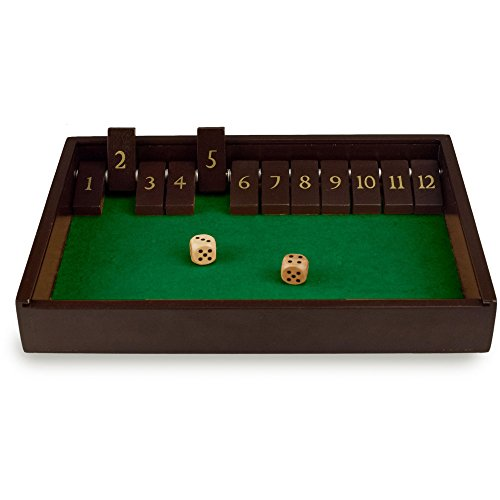 Wooden Dice Game - Shut the Box Game Wooden 12 Numbers with Lid By Sterling Games