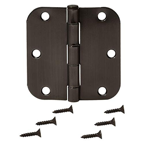 AmazonBasics Rounded 3.5'' x 3.5'' Door Hinges - 18 Pack - Oil Rubbed Bronze by AmazonBasics (Image #2)