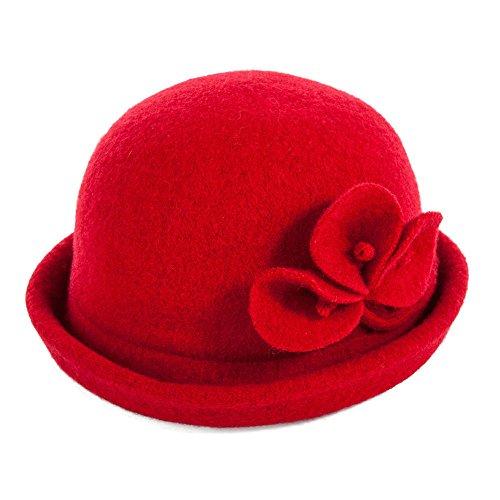 Siggi 1920s Wool Felt Bowler Cloche Bucket Bowler Hat Red for Women Packable Winter Women Bowlers