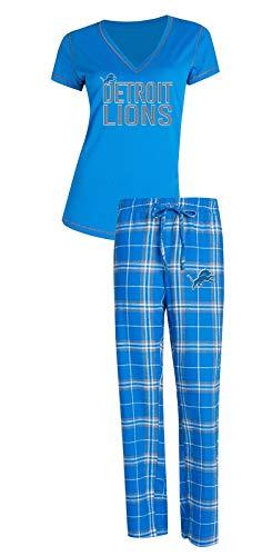 Concepts Sport Detroit Lions NFL Super Duo Women's T-Shirt & Flannel Pajama Sleep Set (Detroit Lions Pajamas Mens)