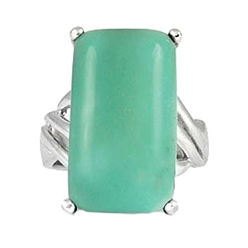 Sterling Silver Ring with Baguette Chrysoprase Stone BTS-NRB6648 CRP R