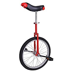 20 Inch Mountain Bike Wheel Unicycle with Quick Release Adjustable Seat Color Red