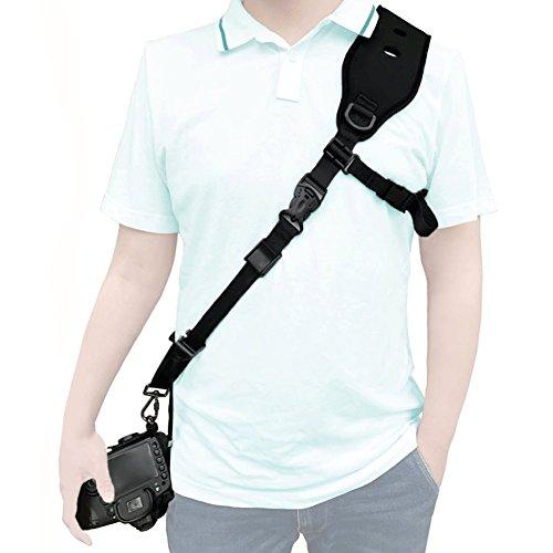 ALLCACA Adjustable Camera Shoulder Strap Security Camera Belt Digital Camera Sling Shoulder Neck Strap with Safety Lanyard and Quick-release Connector(1/4'' Screw), Black