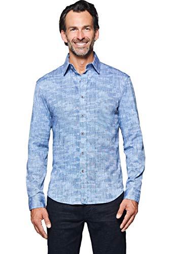 (Buttercloth Shadow Effects Button Down Long-Sleeve Dress Shirt in Blue as seen on Shark Tank)