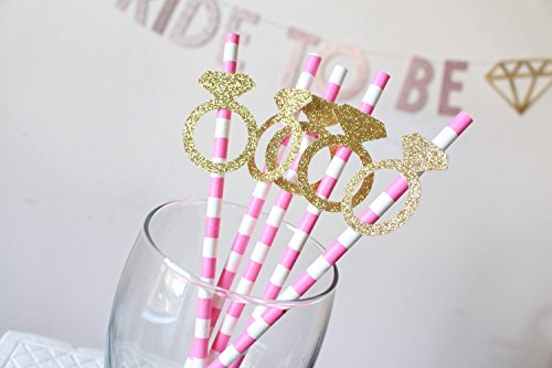 Bridal Shower Decorations for Kate Spade Themed Party, Pink Spade Glitter Straws Set of 10 (Kate Party Spade)