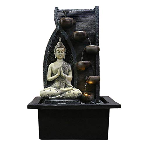 Zen Indoor Water Fountain with Water Pump - Buddha Statue Gemstone Feng Shui Ornaments Great for Office, Living Room, Bedroom,B