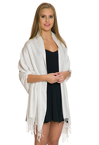 - Pashmina Shawls and Wraps - Large Scarfs for Women - Party Bridal Long Fashion Shawl Wrap with Fringe by ShineGlitz Light Cream (Light Ivory)