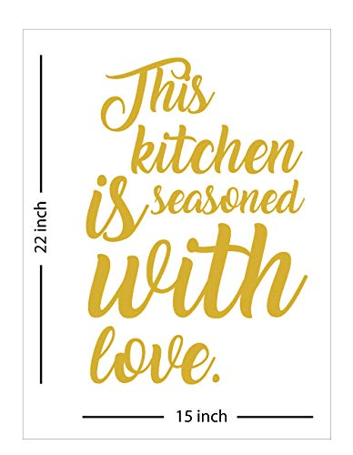 Fabulous Décor: THIS KITCHEN IS SEASONED WITH LOVE Decal Inspirational Vinyl Sticker Wall art Positive Lifestyle Quote living room, home improvement, restaurant, office, kitchen, bar 15Wx22H (Gold)