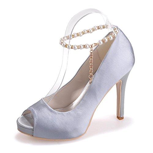 05 Seda De Zapatos Del Altos Las Silver Peep La Mujeres Falda Casual Toe Tacones 6041 yc L Novedad wqA0xfzf