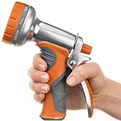 Rhino Tuff Products Garden Hose Nozzle 9-Setting Sprayer for Home, Lawn Care, Gardening and Car Wash Detailing, Heavy-Duty Aluminum Spray Nozzle Includes 3 Bonus Washers