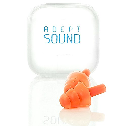 Ear Plugs Orange Reduce Loud Noise For Sleeping, Concerts, Music Events, Shooting Range, Construction Work, Motor Sports Racing, Made Of Soft Hypoallergenic Silicone To Be Reusable & Comfortable by Adept Sound