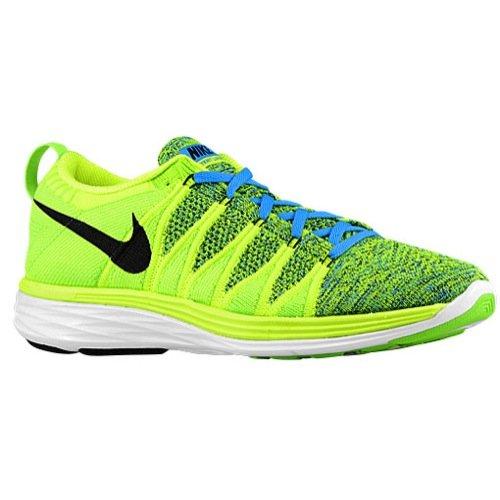 72f84e98259b Galleon - Nike Mens Flyknit Lunar 2 Running Shoes - Volt Black Photo Blue  Electric Green White (12)