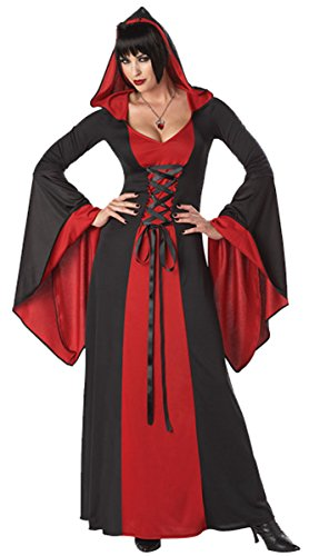 COSWE Womens Hooded Robe Classic Witch Long Dress Costume(Color,Red)