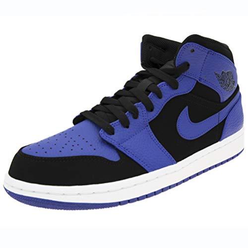 Jordan Air 1 Mid Basketball Shoes (M11/ W12.5, Black/Dark Concord/White)