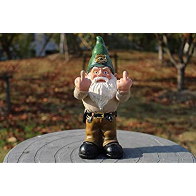 Fanssie Funny Double Bird/Middle Finger Furious Garden Lawn Gnome Statue for Outdoor/Indoor/Patio, 10
