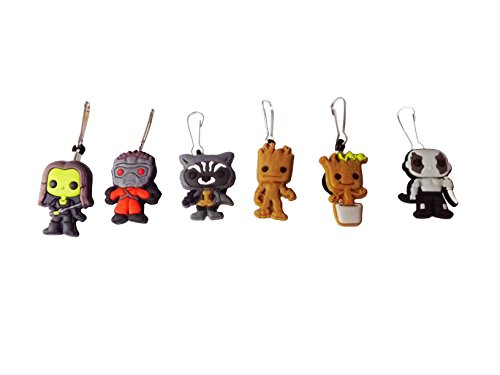 Zoe Saldana Guardians Of The Galaxy Costume (AVIRGO 6 pcs Zipper Pull Charms for Jacket Backpack Bag Pendant Set # 114 - 2)