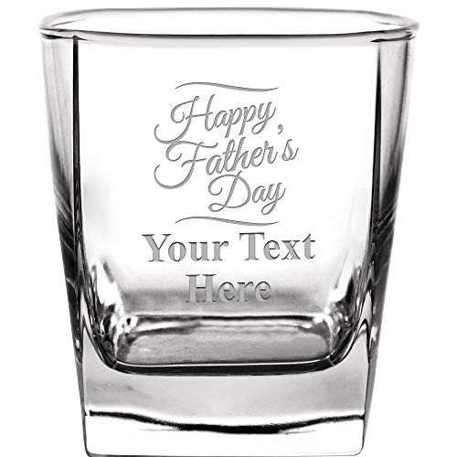 Personalized Drinking Glasses, 10.5 oz Custom Engraved Happy Father's Day Whiskey Glass Gift, Etched Whiskey Glasses With Customized Text]()