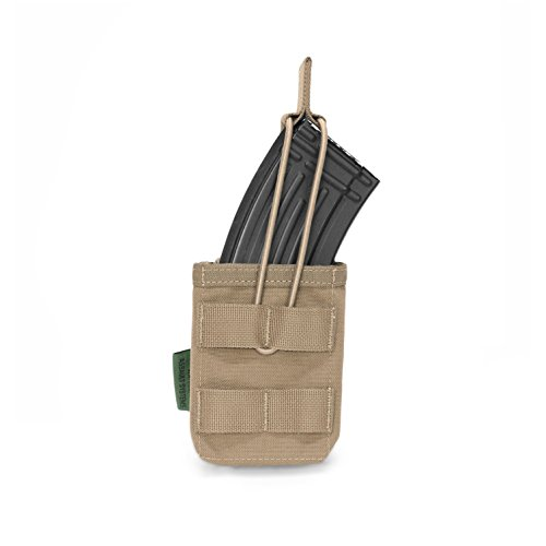 Warrior Assault Systems Bungee Retention Single MOLLE Open AK 7.62mm Mag Pouch (1 Magazine), Coyote Tan (Warrior Assault Systems Low Profile Chest Rig)