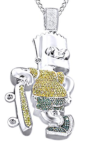 Round Cut Simulated Multi Color CZ Men's Hip Hop Bart Simpson Pendant In 14k White Gold Over Sterling Silver by AFFY