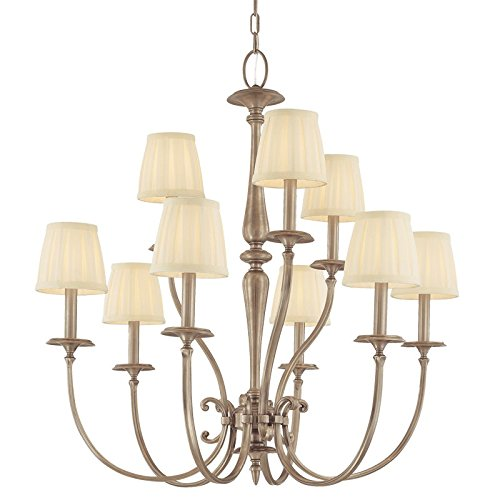 Jefferson 9-Light Chandelier - Antique Nickel Finish with Off White Faux Silk Shade (Jefferson 9 Light Chandelier)