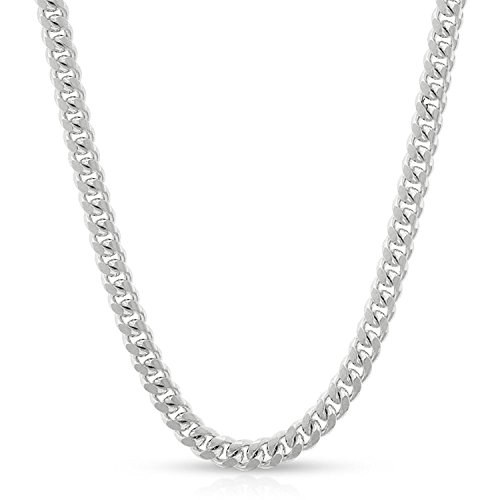14k White Gold 3.5mm Solid Miami Cuban Curb Link Necklace Chain 16'' - 30'' (24) by In Style Designz (Image #6)