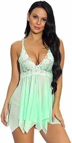 0170f65ec42 Yucode-Lingerie for Women Front Closure Babydoll Lace Chemise V Neck Mesh  Sleepwear Lingerie Backless