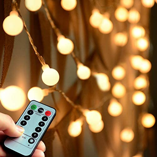 Abkshine Remote and Timer 100 LED Warm White Globe String Lights Outdoor, Waterproof Battery Powered LED Starry Light Fairy Light for Patio Umbrella Garden Party Xmas Tree Wedding Decoration