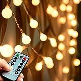 Abkshine [Remote & Timer] 100 LED Warm White Globe String Lights...
