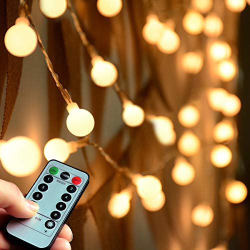 [Remote & Timer]Abkshine 100 LED Warm White Globe String Lights Outdoor, 8 Modes Battery Powered LED Starry Light Fairy Light for Patio Garden Party Xmas Tree Wedding Decoration(Waterproof, Dimmable)