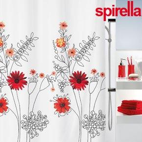 Red Flower Shower Curtain Amazoncouk Kitchen Home