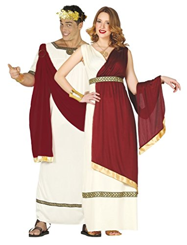 Couples Ladies & Mens Roman Red/White Toga Ancient Emperor Augustus Caesar Empress Fancy Dress Costumes Outfits (Ladies UK 14-18 & Mens Large) ()