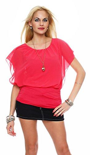 zarmexx Ladies bate de doble capa de gasa blusa cuello redondo Túnica Top con accesorios talla única salmón