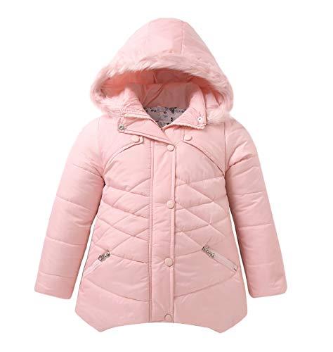 Coat Hooded Girls (IRELIA Girls Parka Coat Fur Hooded Overcoat Winter Padded Pink M)
