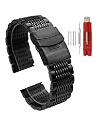 22mm Watch Band for Boys Mesh Watch Band Stainless Steel Strap Mens Watch Bands Metal Deployment Clasp Black Watch Bracelet