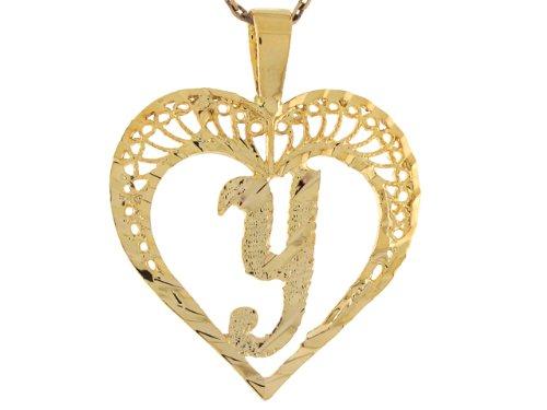 14ct Or Superbe Pendentif Coeur Avec Initial Lettre Y En Filigrane 2.92cm