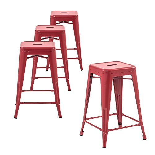 Set Chairs 4 Red (Buschman Store Counter High Tolix-Style Metal Bar Stools, Indoor/Outdoor, Stackable, 24