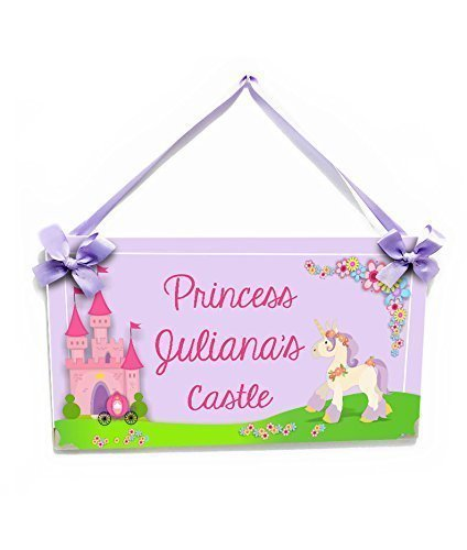 Girls Name Plaque, Pink and Purple Accents Princess Theme with Castle and Unicorn - Plaque Princess Personalized
