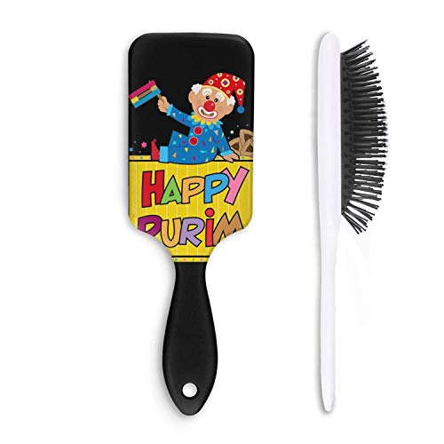 Fashion Soft Hair Brush Happy Purim Clown Purim Clip Art - Pain Free - for Women Men Kids Good for Thick Thin Long Short Dry Damaged Curly any -