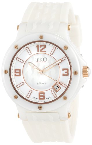TKO ORLOGI Women's TK578-WT Genuine Ceramic White Rubber Strap Watch ()